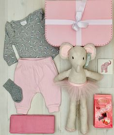 Emme Elephant Baby Hamper - Includes Free Shipping, Boutique Baby gift shipped Australia Wide Little Baby Girl, Little Babies, Cute Babies, Baby Hamper, Baby Baskets, Little Elephant, Elephant Baby, Cotton Socks