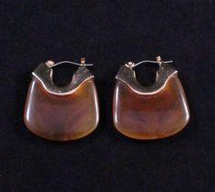 Vintage Root Beer Swirl Lucite Hoop Earrings by Paststore by paststore on Etsy