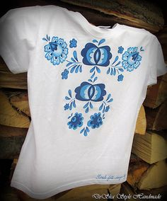 DoSka_Style_Handmade / Modranská maľovaná na tričku 2 Mens Tops, T Shirt, Fashion, Tee, Moda, La Mode, Fasion, Fashion Models, Tee Shirt