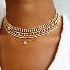 Beautiful necklaces from ✨. Unique Necklaces, Beautiful Necklaces, Gold Fashion, Fashion Jewelry, Style Fashion, Layered Jewelry, Layered Necklace, Anklet Bracelet, Minimal Jewelry