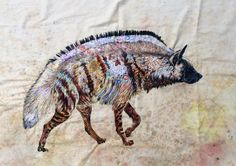 Striped hyena by Sophie Standing: Textile Embroidery