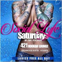 Tomorrow! @milktattoos_____ will be doin live Body painting at ATLs #1 (RoofTop) Day Party #SocialLyfeSaturdays at @421hookahloungeatl 3pm - 10pm (421 Edgewood ave ATL 1 block from Cafe Circa)...Ladies Free All Day Guys till 6pm jus text PTRPARTIES TO 545454 to RSVP Hosted by @ezduzit100it call 404.709.5617 to reserve your Free Bday or section asap!! #Hookahs #Food #Drinks Powered by @kaane_ptr @421hookahloungeatl  @cutdaredtape  @bcarrinhton @girliegirlsworldwide
