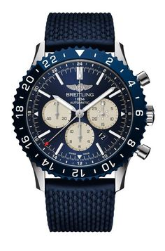 The @breitling Chronoliner B04 Boutique Edition - this watch's all-blue livery houses, for the first time in the Chronoliner collection, Breitling's in-house, COSC chronometer-certified Caliber B04, which powers the watch's array of pilot-friendly functions.  It is limited to 100 pieces.  More @ http://www.watchtime.com/wristwatch-industry-news/watches/breitling-launches-new-boutique-exclusive-chronoliner-and-chronomat-44/ #watchtime #breitling #chronograph #pilotswatch