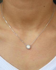 Mila Minimalist Opal Circle Pendant Necklace – MyBodiArt