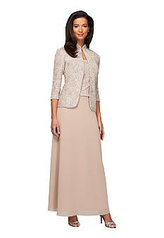 1e5aba80d58fd Mother of the Bride Groom outfits...Alex Evenings Long A-line Gown with  Jacket - Belk.com