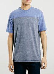BLUE PANEL CREW NECK T-SHIRT