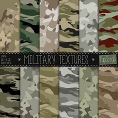 "Camouflage digital paper : ""Military Textures"" Cammo, Camo Patterns, military, hunter, hunting, camoflauge, patterned paper, background"