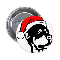 Rottweiler wearing Red Christmas Santa Hat Button
