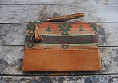 Brown Aztec Upcycled Leather Clutch // by aperfectmessvintage