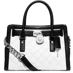 Michael Michael Kors Hamilton Leather Quilted East West Satchel... ($348) ❤ liked on Polyvore featuring bags, handbags, michael kors, purses, leather purse, genuine leather purse, quilted handbags, quilted purse und black and white leather handbag