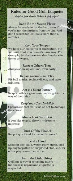 Golf Quotes Rules of Good Golf Etiquette with Arnold Palmer Golf Mats, Wrestling Quotes, Golf Etiquette, Rules Quotes, Golf Magazine, Golf Chipping, Woods Golf, Golf Quotes, Golf Lessons