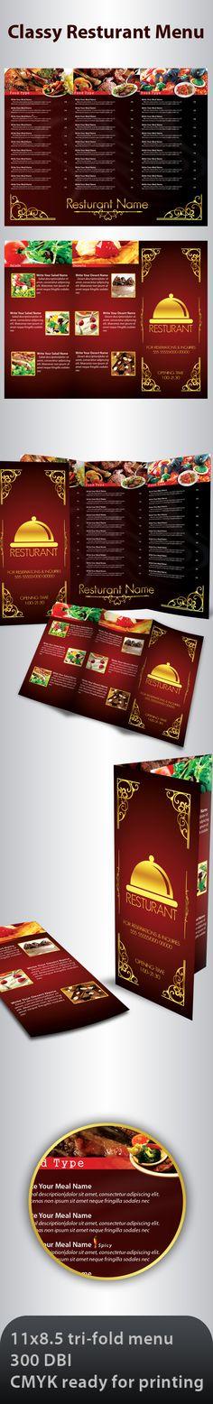 Classy Resturant Menu by Advero on DeviantArt Resturant Branding, Resturant Menu, Menu Restaurant, Menu Design, Layout Design, Menu Layout, Classy, Deviantart, Tri Fold