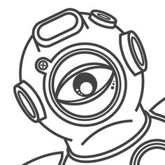 #diver #vector #illustrator #bw