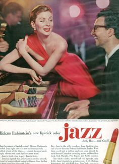 What do jazz icons pianist Dave Brubeck and saxophonist Paul Desmond, the legendary hungry i Nightclub in San Francisco, Suzy Parker and red lipstick have in common?  They're all featured in this 1955 Helena Rubinstein ad for Jazz Lipstick photographed by Richard Avedon: