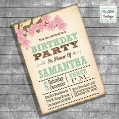 Birthday Party invitation adult invite vintage by myooakboutique etsy store