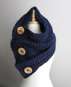 Chunky Button Cowl Scarf Hood Shawl - THE VAIL - Navy with natural wood buttons on Etsy, $72.00