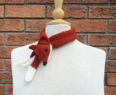 Fox Collar, Mini Fox Stole, Fox Neckwarmer, Handknitted Fox Collar, Fox Mini  £15.00