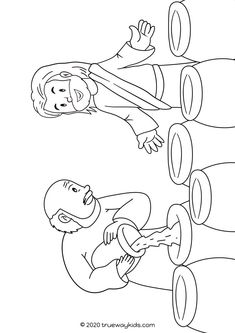 Jesus' first Miracle – The wedding in Cana coloring page Water to wine coloring page for kids. Free to print for home or church. Use during sunday school or at home to remember Jesus' first miracle. Jesus Coloring Pages, Preschool Coloring Pages, Coloring Pages For Kids, Bible Heroes, Preschool Bible Lessons, Free Printable Coloring Sheets, Wine Craft, Water Into Wine, Church Activities