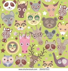 Funny animals muzzle seamless pattern, Green background with stars. Vector - stock vector