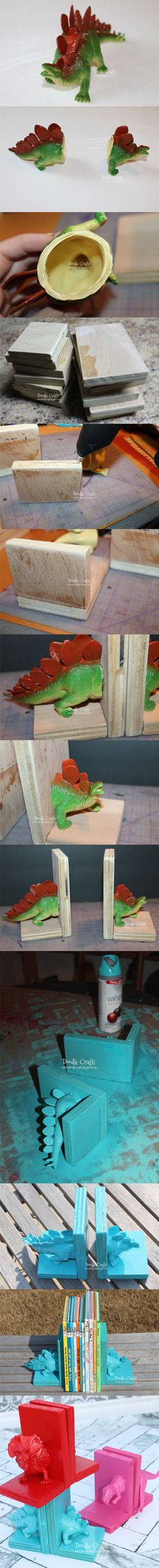 Ingenioso sujeta libros con dinosaurios / Via instructables y doodlecraft