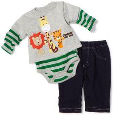 Amazon.com: Mini Bean Baby-Boys Newborn Jammin Zoo Creeper Set, Gray, 3-6 Months: Clothing
