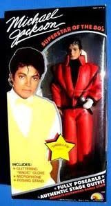 My son was crazy about Michael Jackson.  He had this doll.  His favorite song was Thriller We had to listen to it every morning going to my mom's.