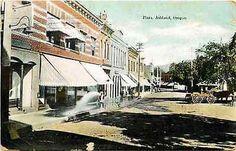 Ashland Oregon OR 1908 Plaza Store Fronts Washing Sidewalk Vintage Postcard Ashland Oregon OR Circa 1908 Plaza in Ashland Oregon with store keeper washing off sidewalks. Used collectible antique vinta