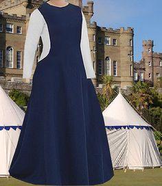 SCA-Garb-Medieval-Gown-Renaissance-Costume-NavyBlue-LinenBld-Sidelss-Surcote-LXL