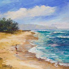 """Sunset Beach Surfer Hawaii (Framed Palette Knife Painting)"" - Original Fine Art for Sale - © Lisabongzee Hawaii Seascape Paintings, Landscape Paintings, Beach Paintings, Watercolor Landscape, Watercolor Paintings, Beautiful Paintings Of Nature, Beach Artwork, Pictures To Paint, Ciel"