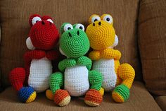 Pattern for Yoshi from Mario Brothers. Measurements are approximately 10 in tall, 7 in wide,and 5 in tail to front of feet. Gauge doesn't matter too much, choose whatever hook and yarn you'd like the size might just be different.