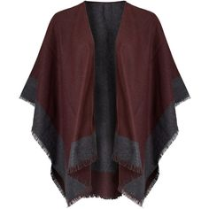 John Lewis Double Faced Check Ruana Cape, Burgundy/Grey (485 SEK) ❤ liked on Polyvore featuring outerwear, john lewis, burgundy cape, wrap cape coat, evening cape and gray pashmina