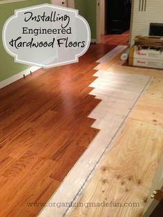 Installing Engineered Hardwood Flooring   OrganizingMadeFun.com.   Bruce E5101 - Gunstock.  Purchased at Lowes # 284231