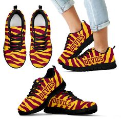 Tiger Skin Stripes Pattern Print Arizona State Sun Devils Sneakers – Best Funny Store
