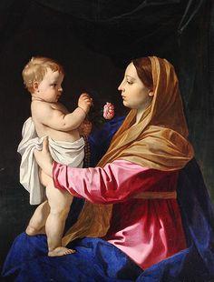 Simone Cantarini: María y el Niño con rosario y rosa.