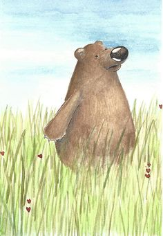 A Bear is enjoying the afternoon in a field.  Original pen, ink and watercolor illustration  Size 5.5 inches x 7.5 inches with a half an inch white