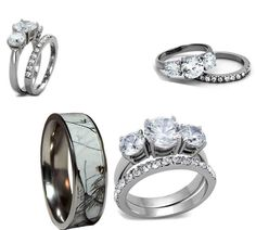 Trending His ceramic camo mm and her pink cz stainless steel engagement wedding ring set