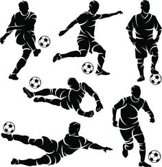 Silhouettes of soccer / football players vector art illustration Art Football, Football Poses, Soccer Art, Free Vector Graphics, Free Vector Art, Soccer Drawing, Football Silhouette, Theme Sport, Sports Wallpapers