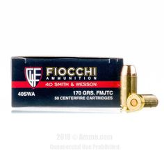 Fiocchi 40 cal Ammo - 1000 Rounds of 170 Grain FMJ Ammunition #40Cal #40CalAmmo #Fiocchi #FiocchiAmmo #Fiocchi40Cal #FMJ