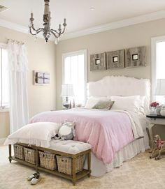 The homeowner of this Arizona home slipcovered the headboard in gossamer linen from Bella Notte; the duvet cover is homemade. At the foot of the bed, a tufted bench provides a place to sit.   - CountryLiving.com