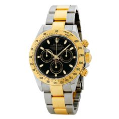 Rolex Cosmograph Daytona Black Dial Stainless steel and Yellow Gold Rolex Oyster Automatic Men's Watch Gold Rolex, Rolex Daytona Stainless Steel, Rolex Cosmograph Daytona, Buy Rolex, Rolex Models, Swiss Army Watches, Hand Watch, Luxury Watches For Men