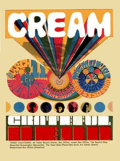 Cream .....   The Grateful Dead  ...... .   3/11/1968 ..   .....Sacramento concert poster