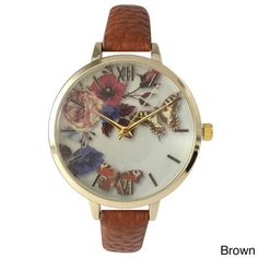 This chic Women's Leather Vintage Style Flowers and Butterflies Watch from Olivia Pratt is a stylish accessory to almost any outfit. This watch features a genuine leather strap accenting a beautiful s