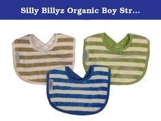 Silly Billyz Organic Boy Striped Biblet 3 Pack in Snow / Marine / Sage. Silly Billyz organic toweling biblets are made from a premium 100% Organic cotton toweling on the front with an Organic cotton backing that has a thin layer of PU fabric added for water resistance, to protect clothing. This is our medium length biblet measuring 5 1/2 in. long from neck to bottom of bib. Perfect for little droolers, they are super absorbent, stain resistant, machine washable and tumble dry safe. A…