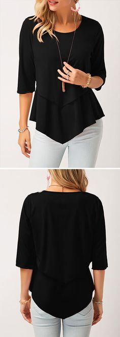 ound Neck Asymmetric Hem Layered Blouse - All About Casual Fall Outfits, Classy Outfits, Pretty Outfits, Cool Outfits, Fashion Outfits, Womens Fashion, Trendy Tops For Women, Blouses For Women, Women's Summer Fashion