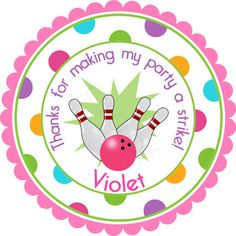 STRIKE Bowling Party For Girls Personalized Stickers  by partyINK, $6.00