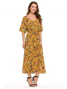 1f319178970b Yellow V-Neck Half Beach Dress