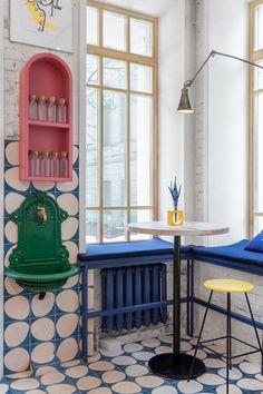 A Colorful Street Food Restaurant Concept in Moscow – Design Milk Restaurant Concept, Restaurant Design, Restaurant Restaurant, Colorful Restaurant, Restaurant Lighting, Commercial Interiors, Interior Design Inspiration, Interior Ideas, Home Design