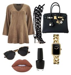 """""""Camouflaged."""" by kee-darden on Polyvore featuring MINKPINK, Sophia Webster, Hermès, Chanel, Christian Dior, Lime Crime and OPI"""