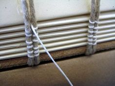 Medieval binding - sewing on double cords  Reverse Engineering Historical and Modern Binding Structures, Part Two with Karen Hanmer – Day 1