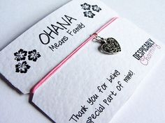 Ohana - Wish bracelet, friendship bracelet with silver plated heart charm mounted on high quality 300gsm quote greeting card